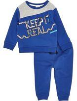 River Island Mini boys blue print sweatshirt set
