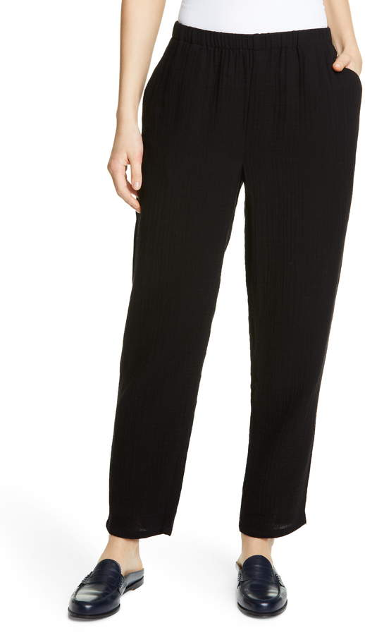 Eileen Fisher Tapered Organic Cotton Pants
