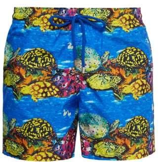 Vilebrequin X Hunt Slonem Moorea Turtle Print Swim Shorts - Mens - Blue Multi