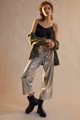 Porridge Lula Sequined Wide-Leg Trousers By in Silver Size XS