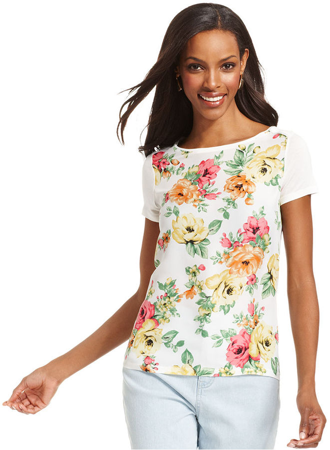 Charter Club Top, Short-Sleeve Floral-Print