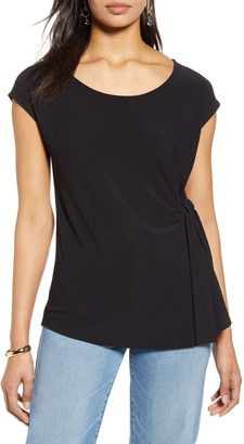 Halogen Cap Sleeve Side Tie Blouse