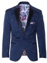 Paisley and Gray Slim Flocked Tuxedo Jacket