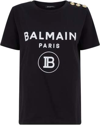 Balmain Embellished Button Logo T-Shirt