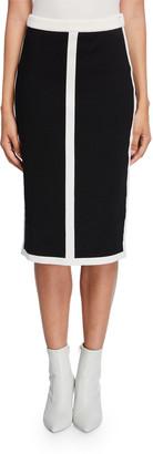 Escada Contrast-Striped Double-Face Wool Skirt