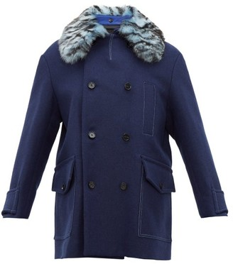 Marni Double-breasted Shearling-collar Wool-blend Coat - Mens - Blue