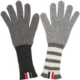 Thom Browne Grey Rib Cashmere Funmix Four Bar Gloves