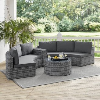 Michal 4 Piece Rattan Sectional Seating Group with Cushions Highland Dunes Color: Gray