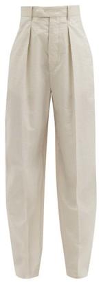 Isabel Marant Tacoma Crinkled Cotton-blend Straight-leg Trousers - Ivory