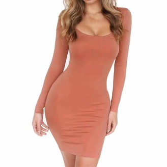 LUCKME Women Bodycon Dress Mini Solid Color Square Neck Sexy Pencil Dress Long Sleeve Slim Bodycon Short Party Dress Pink