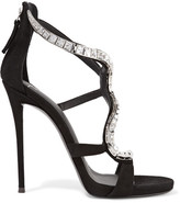 Giuseppe Zanotti Crystal-embellished Suede Sandals - Black
