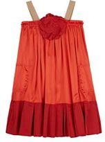 Lanvin POPLIN-TRIMMED SATIN DRESS-RED SIZE NA