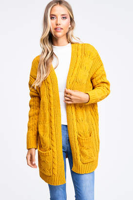 Montrez Chenille Chunky Cable Knit Cardigan
