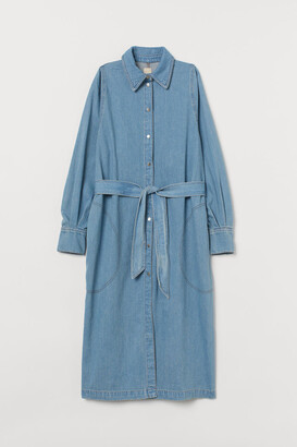 H&M Tie-Belt Denim Dress - Blue