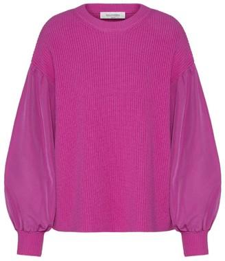 Valentino Wool-Cashmere Blouson Sleeve Sweater