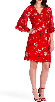 Standards & Practices LuLu Tiered Ruffle Bell-Sleeve Wrap Dress