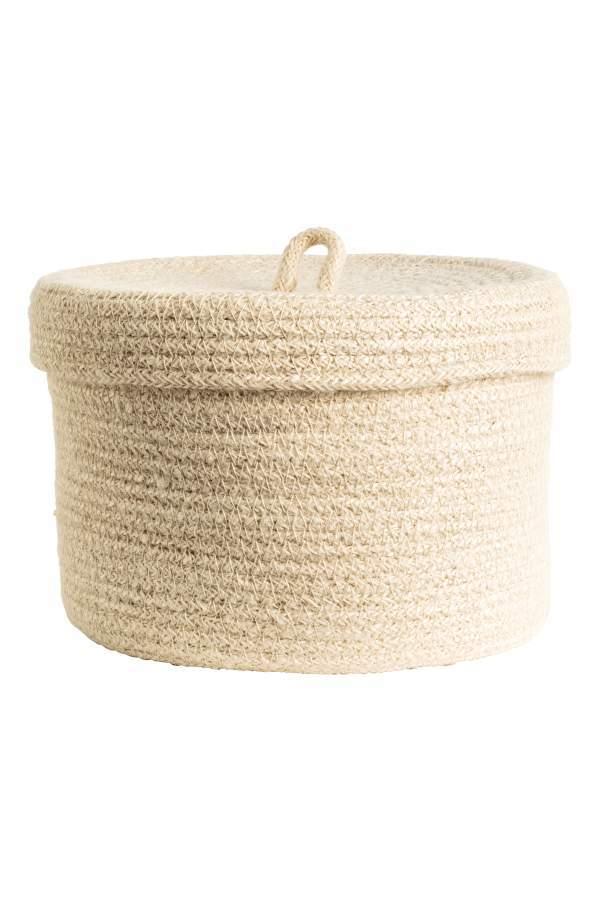 H&M Braided Jute Basket - Natural white