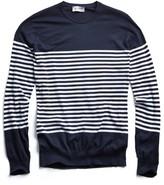 John Smedley Sweaters Sea Island Cotton Striped Sweater in Navy