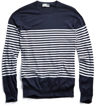 John Smedley Sweaters John Smedley Sea Island Cotton Striped Sweater in Navy