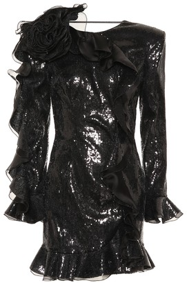 Dundas Ruffle-trimmed sequined minidress