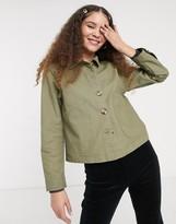 Monki cotton utilty cropped jacket in khaki