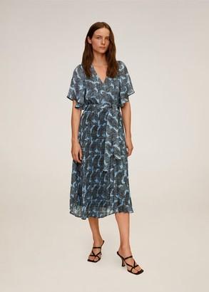 MANGO Pleated skirt dress blue - 2 - Women