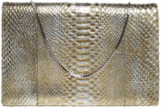 Roberto Cavalli Metallic Gold Python Chain Clutch