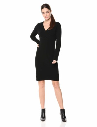 Lark & Ro Women's Long Sleeve Faux Wrap Sheath Sweater Dress