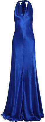 Alberta Ferretti Ruched Silk-satin Halterneck Gown