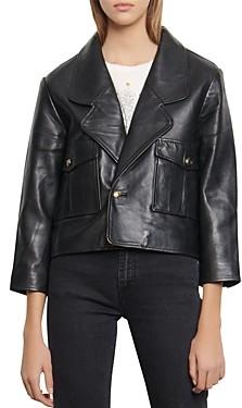 Sandro Shanny Cropped Leather Jacket