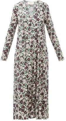 La DoubleJ Trapezio Floral-print Crepe Midi Dress - Womens - Cream Print
