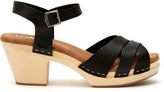 Toms Black Leather Women's Beatrix Clog Sandals