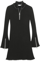 J.W.Anderson Ruffle-trimmed Ribbed Jersey Mini Dress - Black