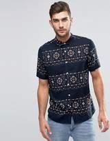 Asos Geo-Tribal Print Shirt In Navy With Short Sleeves In Regular Fit