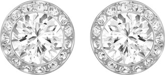 Swarovski Women's Angelic Stud Pierced Earrings Set of White Earrings with Rhodium Plating part of the Angelic Collection