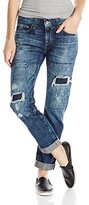 Big Star Women's Billie Slouchy Skinny Boyfriend Fit with Rips and Repair Patches