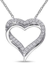Fine Jewelry Womens Lab Created White Sapphire Sterling Silver Heart Pendant Necklace