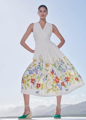 Hobbs Summer Floral V Neck Midi Dress