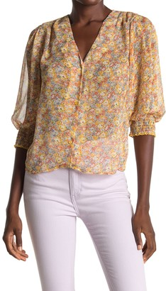 ALL IN FAVOR Floral V-Neck 3/4 Sleeve Button Top