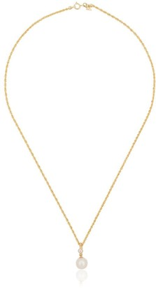 Loren Stewart 14kt Yellow Gold Pearl Drop And Diamond Necklace