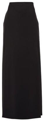 Valentino High-rise Double-slit Wool-blend Skirt - Black