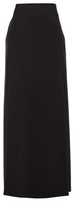 Valentino High-rise Double-slit Wool-blend Skirt - Womens - Black