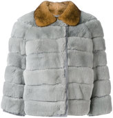 RED Valentino horizontal panelled coat - women - Mink Fur/Rabbit Fur/Polyester - 40