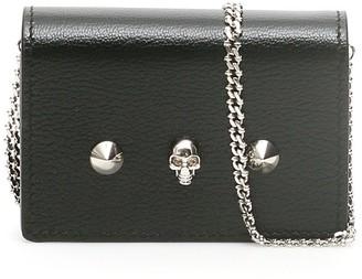 Alexander McQueen Skull Stud Chain Strap Wallet