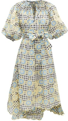 Innika Choo Hugh Jesmok Gingham And Floral Ramie Midi Dress - Multi