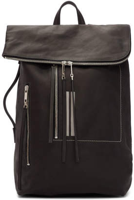 Rick Owens Black Leather Bucket Backpack