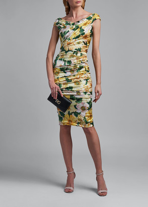 Dolce & Gabbana Ruched Floral Print Silk Dress