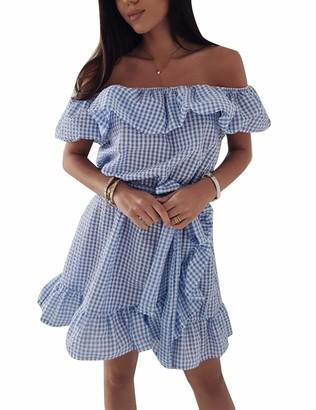 Yieune Dress for Women Summer Off Shoulder Ruffle Mini Sundress Vintage Irregular Plaid Dress with Belt (Blue L)