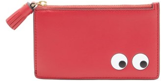 Anya Hindmarch The Eyes Zipped Leather Pouch - Womens - Burgundy Multi