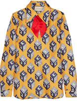 Gucci Pussy-bow Printed Silk-twill Shirt - Yellow